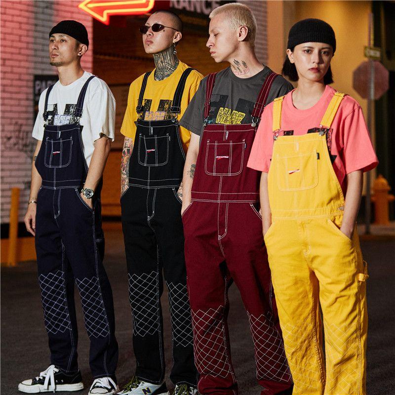Jeans Bib Amarelo Namorado Bebovizi Moda Hip Hop Masculino Suspensórios Jeans Casual Denim Macacões Streetwear dos homens de Jumpsuit