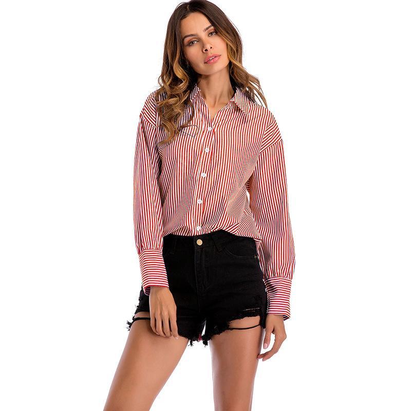 Compre Sarsallya Traje Camisa De Vestir Ocupación Camisa Mujer Manga Larga Solapa Raya Mujer Nuevo Patrón Ropa De Primavera A 6335 Del Shoppingparty