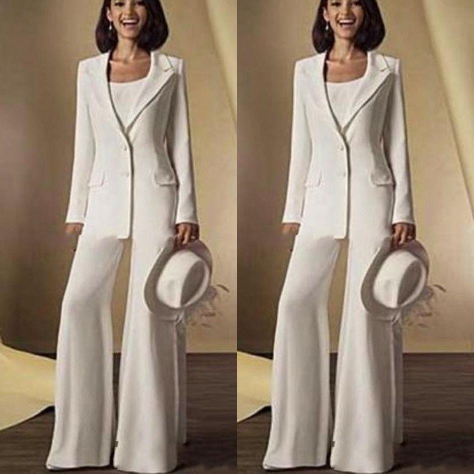 Nouvelle Mousseline De Soie Manches Longues Mère De La Mariée Pantalon Costumes avec Veste Mère Robes Custom Made Blanc Tenues Formelles