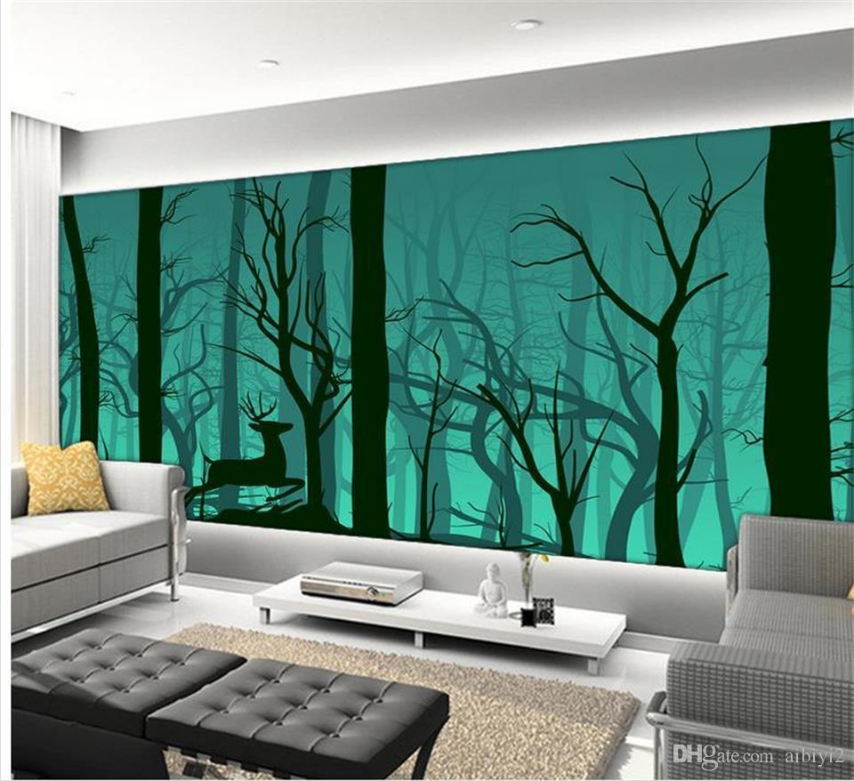 Personnalisé 3D Photo Papier Peint Mural Salon Canapé TV Toile de Fond Mural bois Woodscape cerf image Papier Peint Mural Autocollant Décor À La Maison