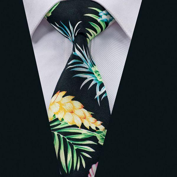 New Black Floral Hommes Cravate classique en coton Cravate simple cravate de soirée de mariage d'affaires formel N-1324