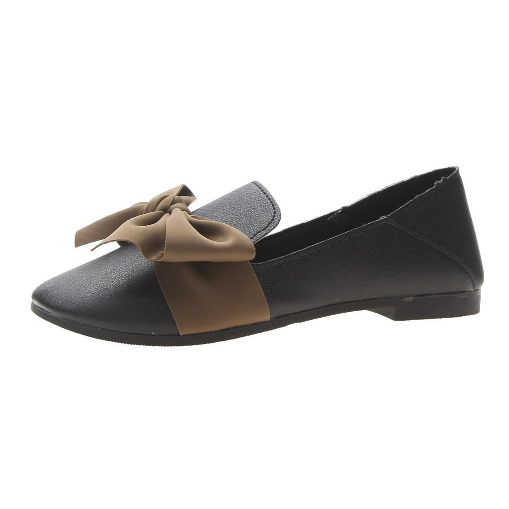 SAGACE Kadın Ayakkabı Yeni Moda Kadınlar Yay Vintage Yumuşak Alt Bezelye Ayakkabı Muhtasar Rahat Düz Sığ May2 Ile