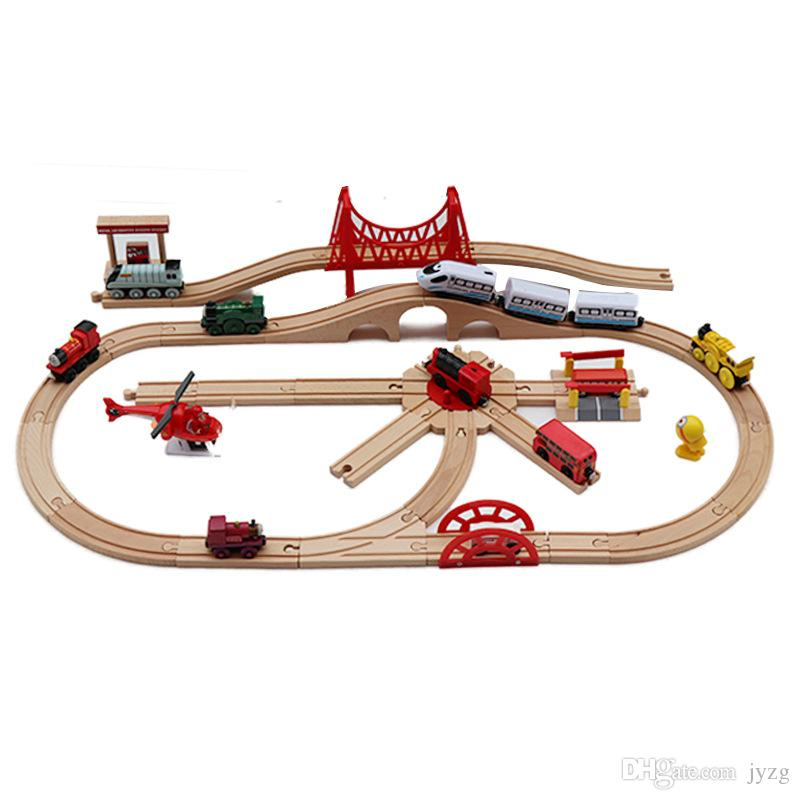 Wooden Magnetic Trains Toys Track Railway Vehicles Toys Wood Locomotive Cars pathway for Children Kids Gift