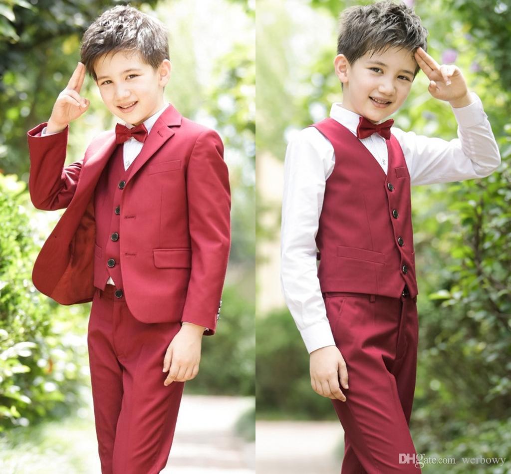 2019 Moda Verano Playa Trajes de niños para bodas Trajes de fiesta Trajes de boda negros Niños Big Boys Ropa formal formal Ropa 4 unids