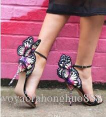 الإناث فراشة مجنح نساء حزب عالية الكعب الصنادل الأحذية رقيقة الكعب الزفاف مضخات أحذية المصارع الإناث تظهر sandalias