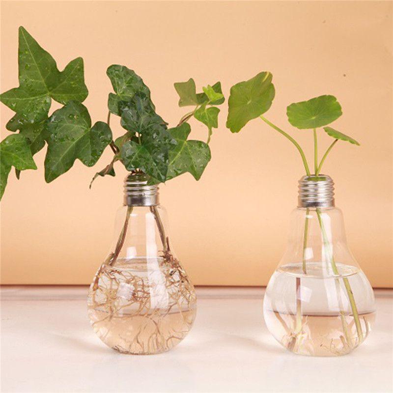 24 X D8 * 14 cm Şeffaf Cam Çiçek Vazo Ampul Şekli Topraksız Konteyner Teraryum Bitki Saksı Ev Ofis dekor