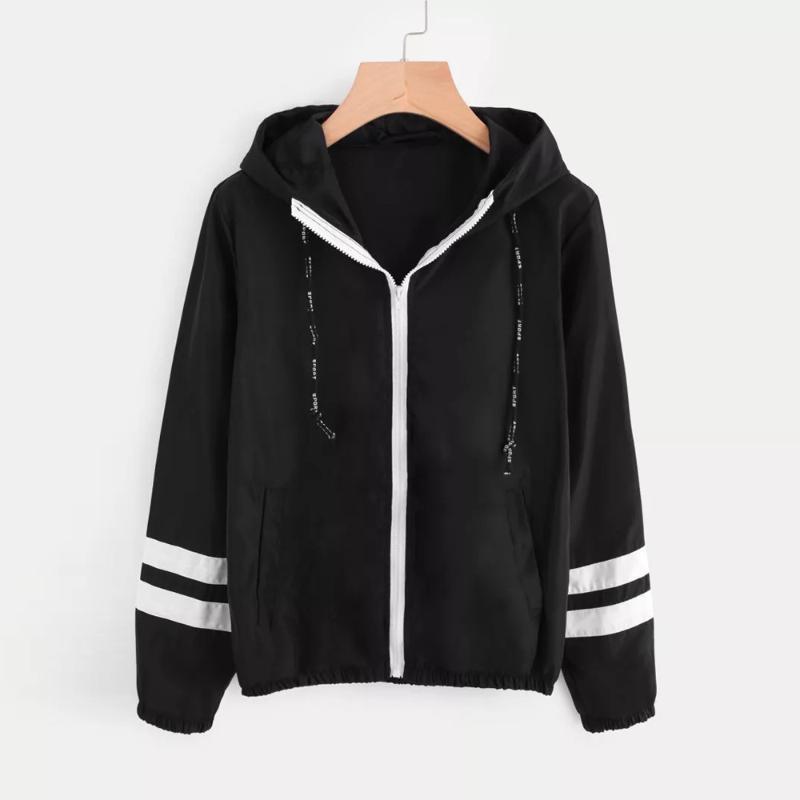 Patchwork Fina skinsuits com capuz Jacket Mulheres manga comprida Zipper Pockets senhoras Denim Mulheres Jacket com capuz Feminino 7,17