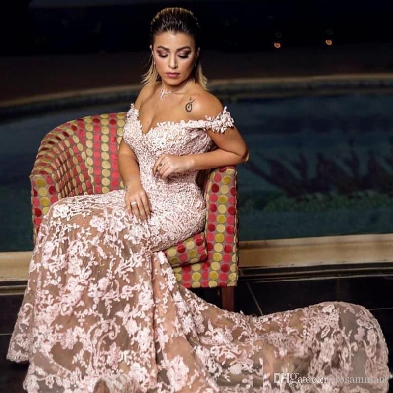 2020 Aso Ebi árabe de encaje de noche moldeado de lujo vestidos sirena vestidos de baile de la vendimia formal atractivo del partido Segunda recepción de vestir Vestidos