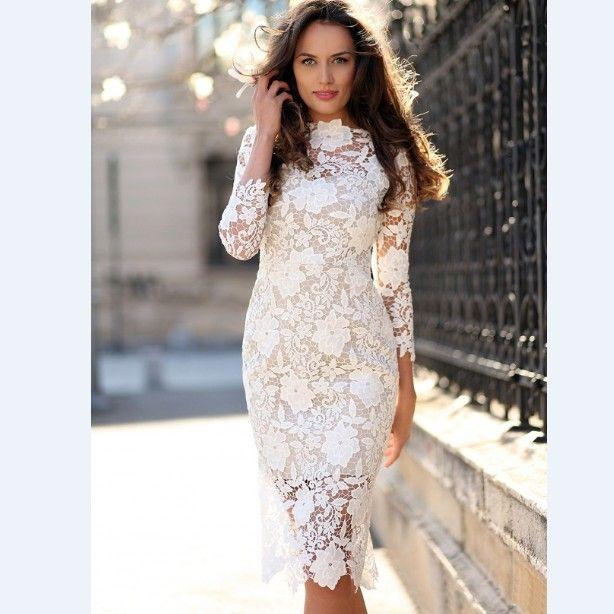 Robe en dentelle blanche pour les dames avec manches trois-quarts Slim Fit SOIRÉE Bureau OL Robe crayon Robes mi-longueur