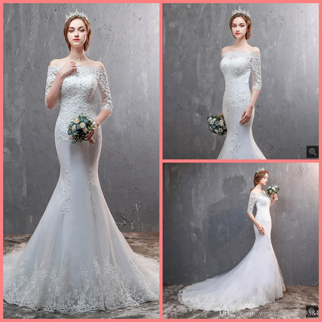 Robe de soiree new mermaid white lace appliques beaded wedding dress off the shoulder half sleeve sexy corset wedding gowns 2019