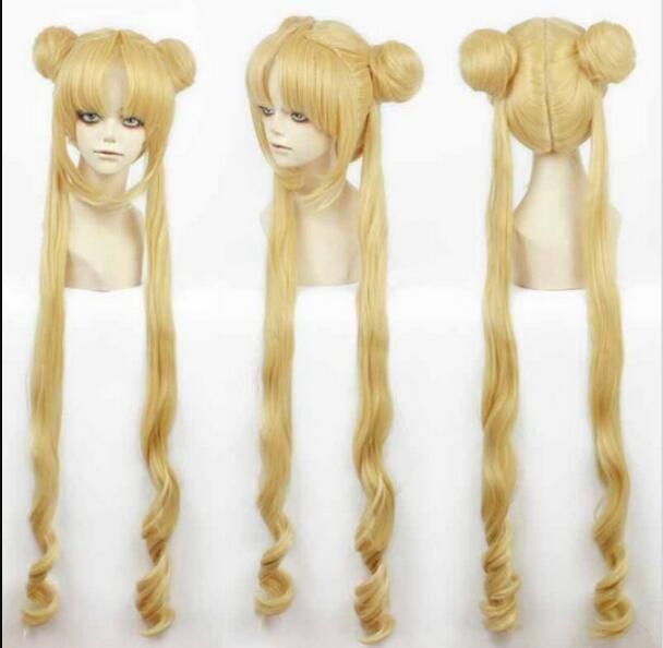WIG LL<<< 001966 Girl Sailor Moon Cosplay Costumes Wig Tsukino Usagi And Princess Serenity curls Wear Hair Heat Resistant Hair Wigs