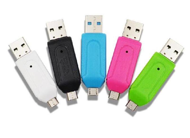 2 في 1 USB ذكر لمايكرو USB مزدوجة فتحة OTG محول مع TF / SD قارئ بطاقة الذاكرة للهواتف الخليوي سامسونج