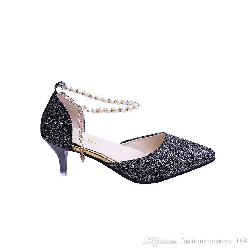 Shinning Glitter Stiletto String Bead Chain Wedding Gold Shoes Women's Pumps Shoes High Heels 2019 Ladies Elegant Pointed Toe Party Shoes