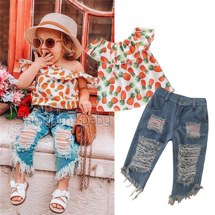 2 stücke Baby Mädchen Kleinkind Ananas Kleidung Kinder off Schulter Tops + Ripped Denim Shorts Outfits Set A-823