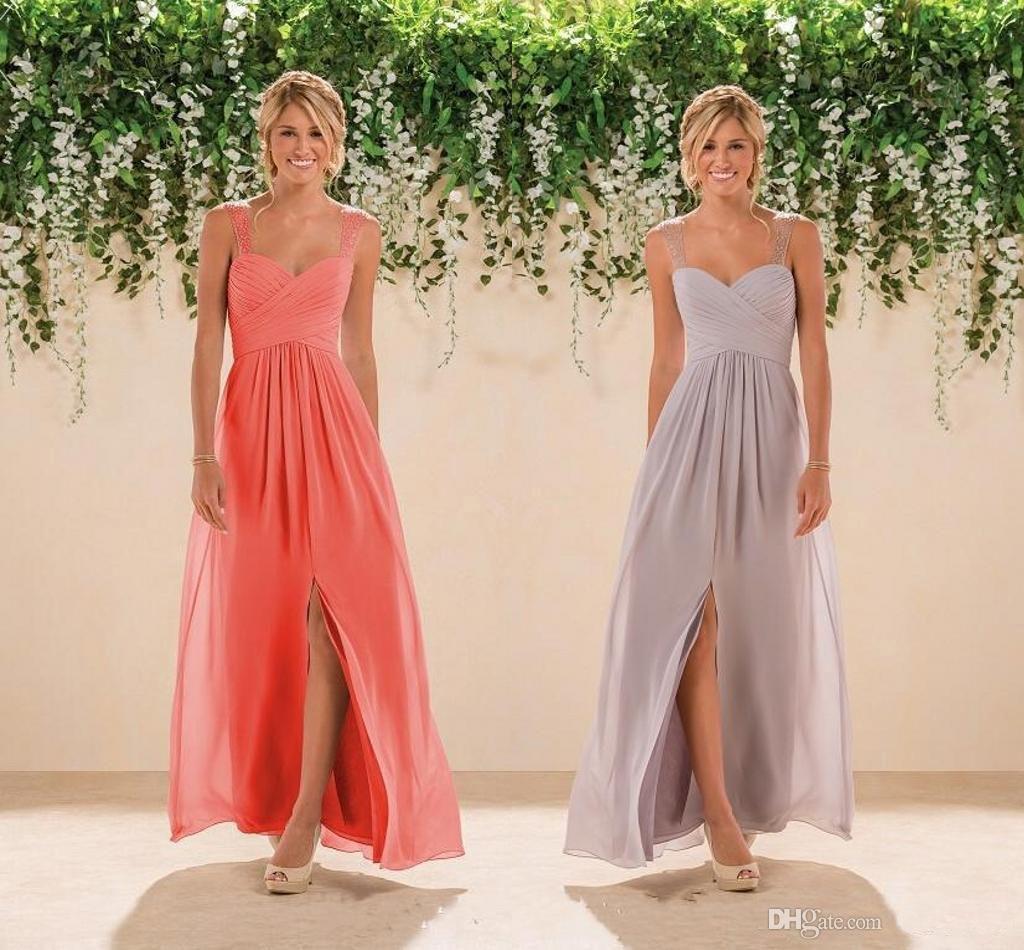 2020 Zarif Mercan Ülke Gelinlik Giydirme şifon Yan Bölünmüş Kadınlar Onur Elbise Düğün Gelinlik Abiye Formal Maid Wear