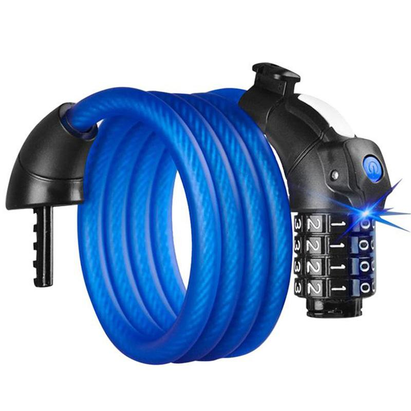 1.5M Led Light Anti Theft Bike Lock Steel Wire Safe Bicycle Cable Lock Mtb Mountain Road Bicycle,Blue