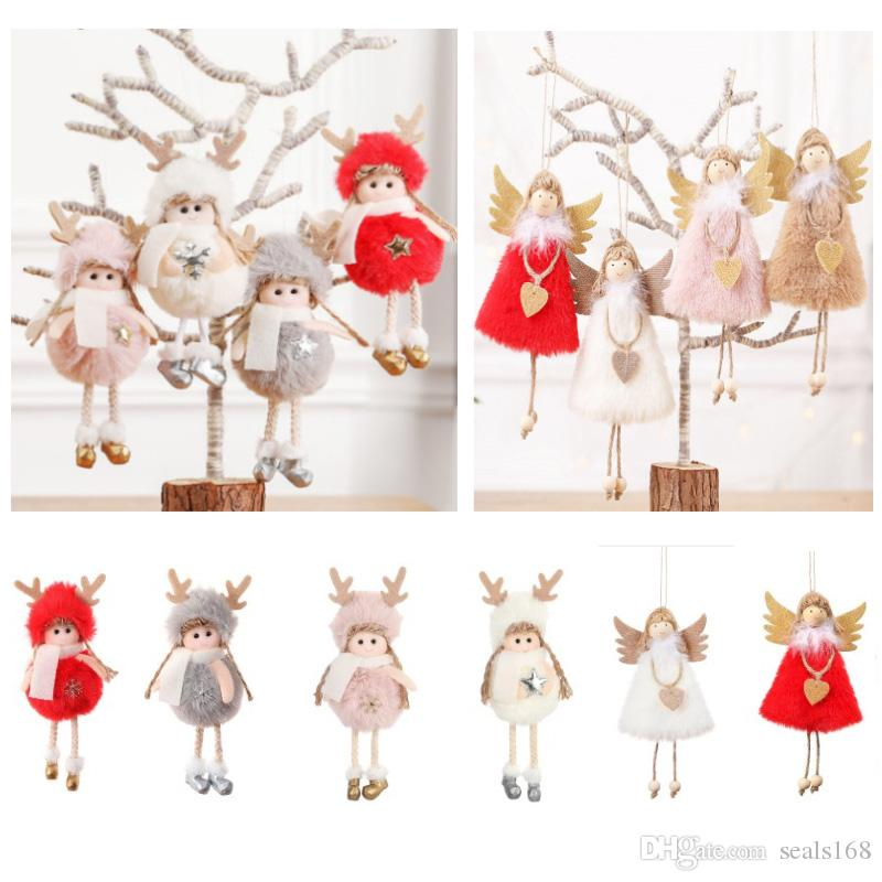 Christmas Tree Decoration Pendant Charm Plush Angle Doll Feather Doll Hanging Ornaments Xmas Home Decor HH9-2491