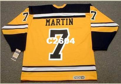 Mens # 7 PIT MARTIN Boston Bruins 1966 CCM Retro Vintage Hockey Jersey ou personalizado qualquer nome ou número retro Jersey