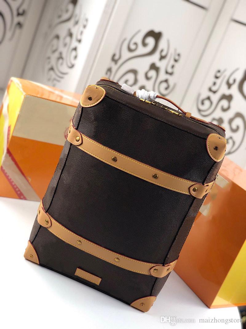 Leather Roll Bag V Men Backpack Genuine Travel Top Rucksack New Brown women Bag