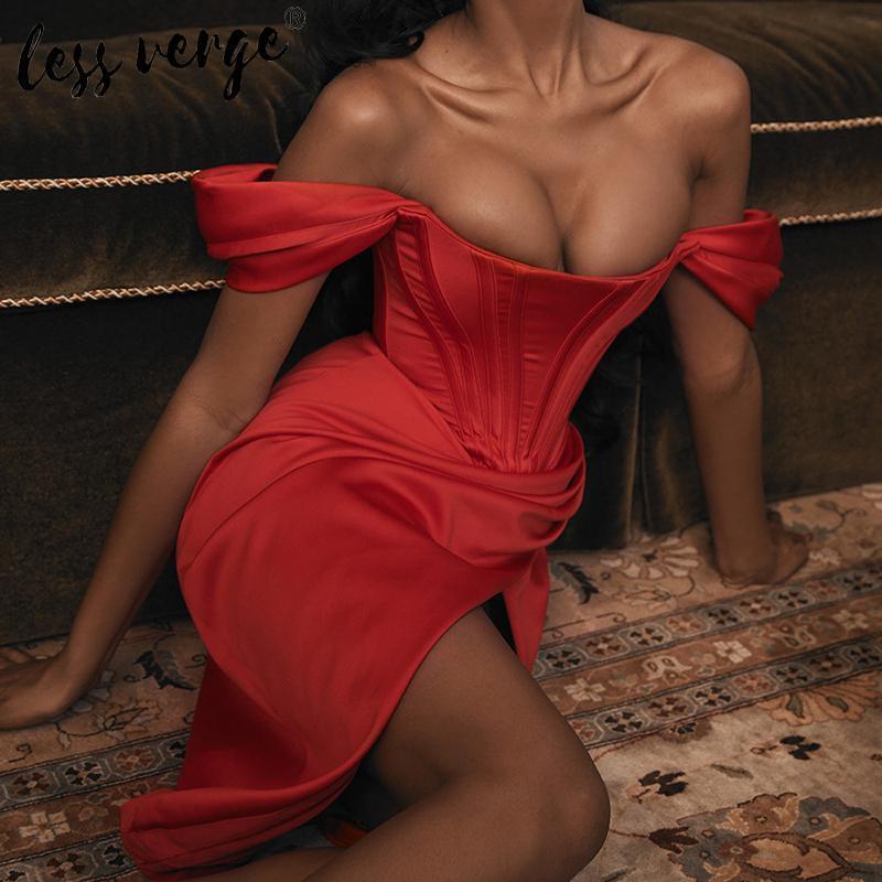 Zarif kapalı omuz uzun parti elbise kırmızı Lessverge Kadınlar asimetrik sonbahar kış elbise Noel ince seksi kulüp elbise MX200319 bölmek