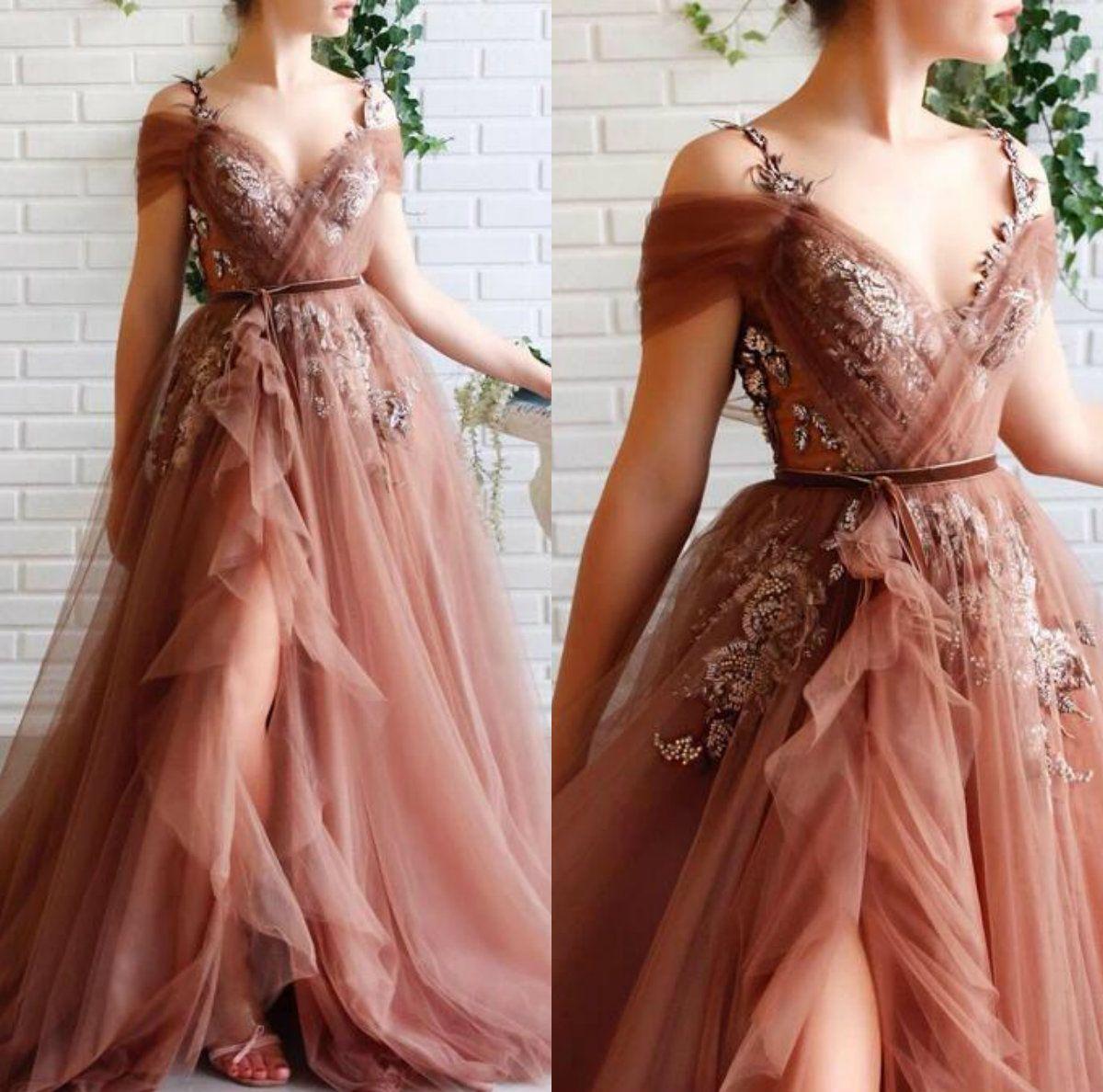 Großhandel 18 Brown Fairy Promkleider Spaghetti Appliqued Eine Linie  Tulle Günstige Abendkleider Partei Abnutzungs Maß Arabische Abendkleider  Von