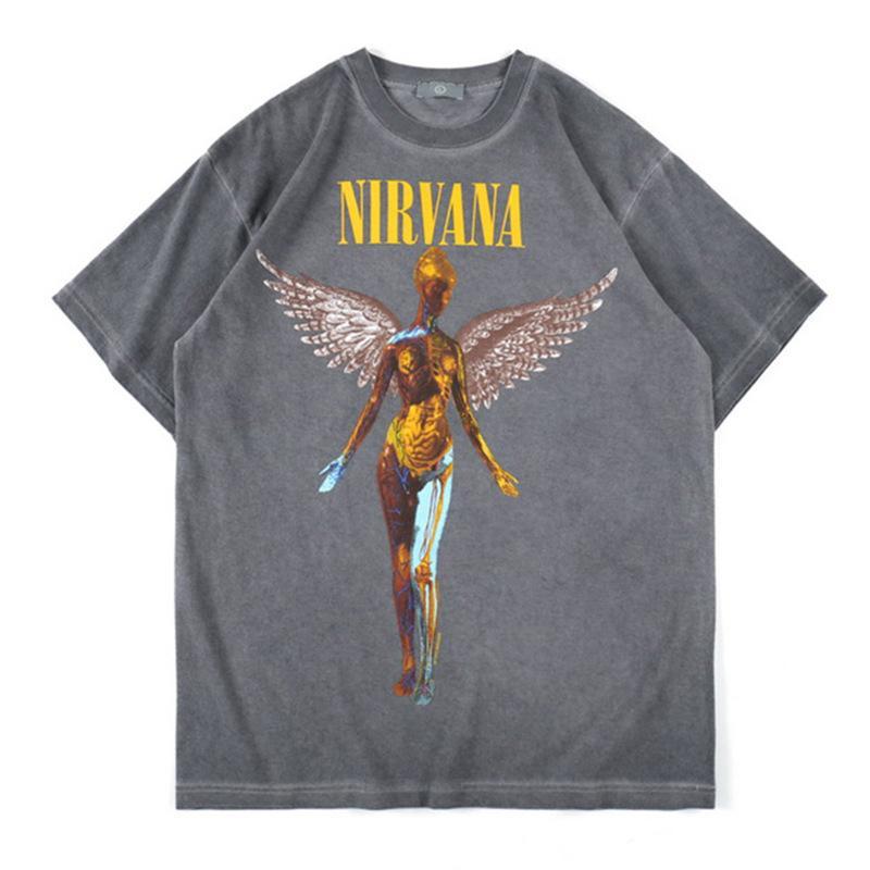 Rock Nirvana Men Designer T-shirt Europe et Amérique du nosta vague de marque NIRVANA Ange imprimé à manches courtes T-shirt Streetwear T