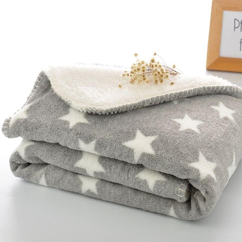 Couverture épaisse toison en peluche Flanelle Throw Blanket chaud Extra Soft double couche bébé Swadding Wrap pour la literie du nouveau-né