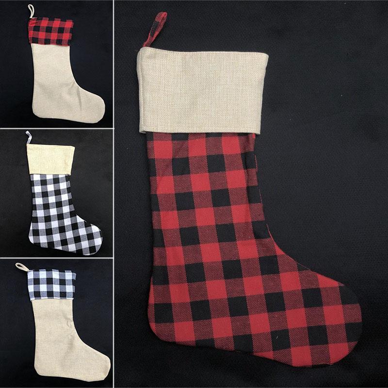 크리스마스 장식 격자 무늬 스타킹 선물 포장 가방 크리스마스 트리 장식 양말 아이 캔디 선물 가방 크리스마스 스타킹 (11) 스타일 WX9-1777