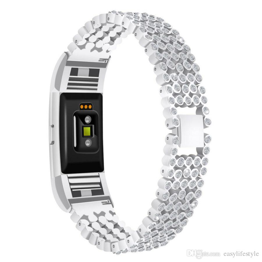bling gergous rhinestone diamond crystal alloy metal band replacement jewelry bracelet wristband for fitbit charge 2