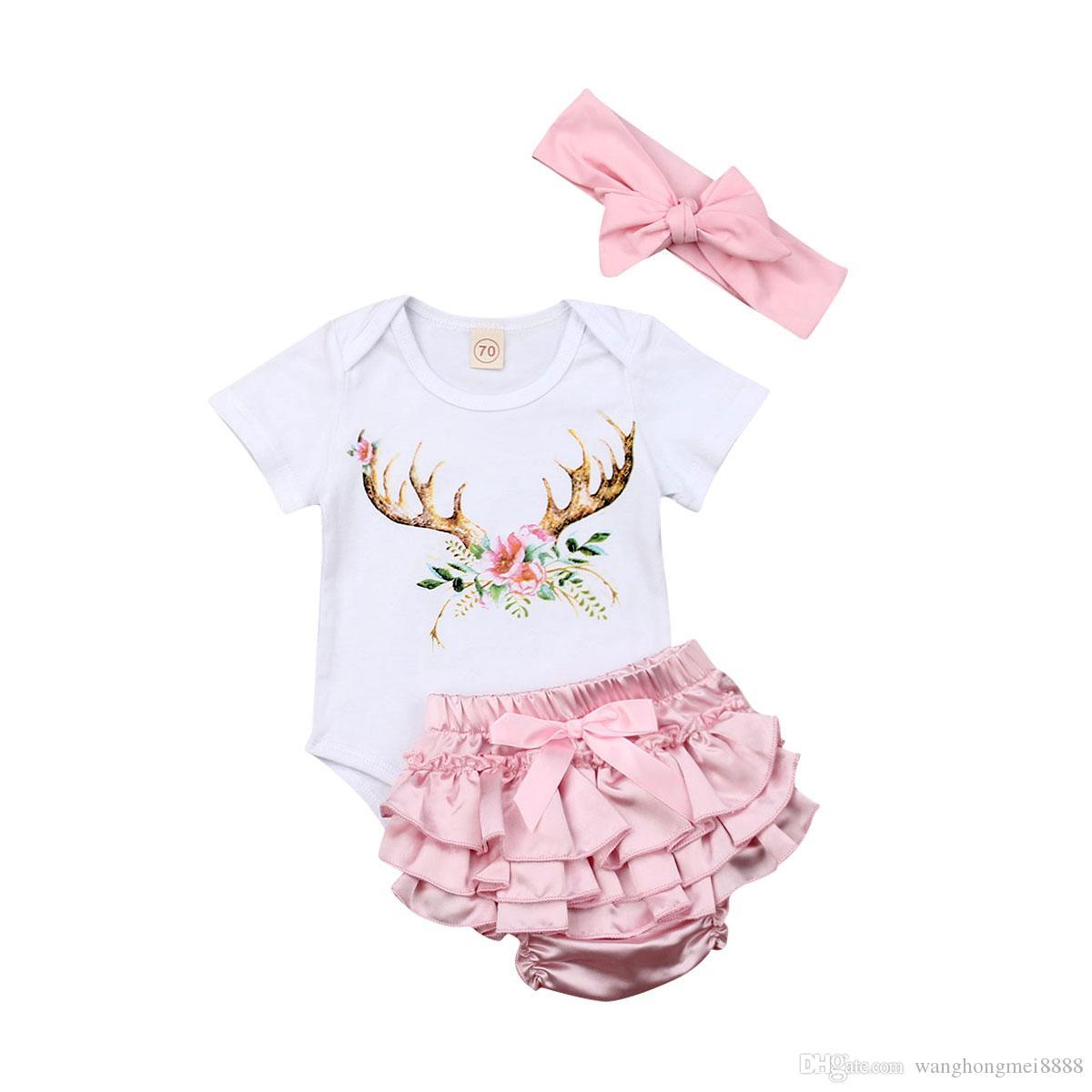 Новорожденный ребенок девочка комплект одежды 2019 новый с коротким рукавом комбинезон + розовый Soild шорты лето 3шт наряд летняя одежда