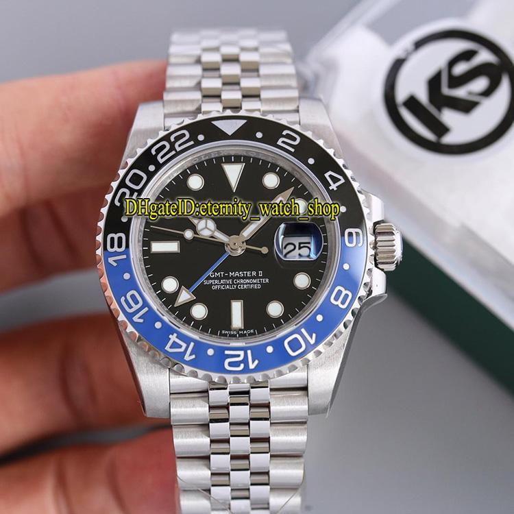 KS Best version m126710blnr-0002 GMT Black&Blue Ceramic Bezel ETA 2836-2 Automatic Movement 28800bph Mens Watch Sapphire Glass Sport Watches