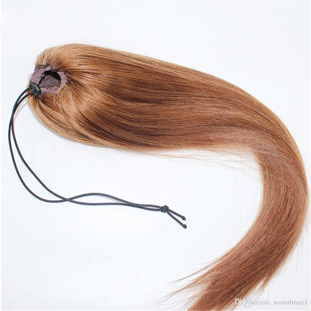 الطبيعية مستقيم 613 براون 14-28 بوصة inch120g الإنسان العذراء الشعر التمديد ذيل الحصان ضيق حفرة كليب في الرباط ذيل VMAE