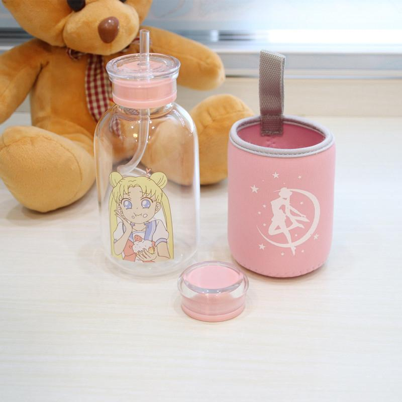 450ML Glass Bottle With lid With Straw Drinking Water Bottles Lovely Cartoon Portable Hiking Camping My Bottle Children Kids Y200330
