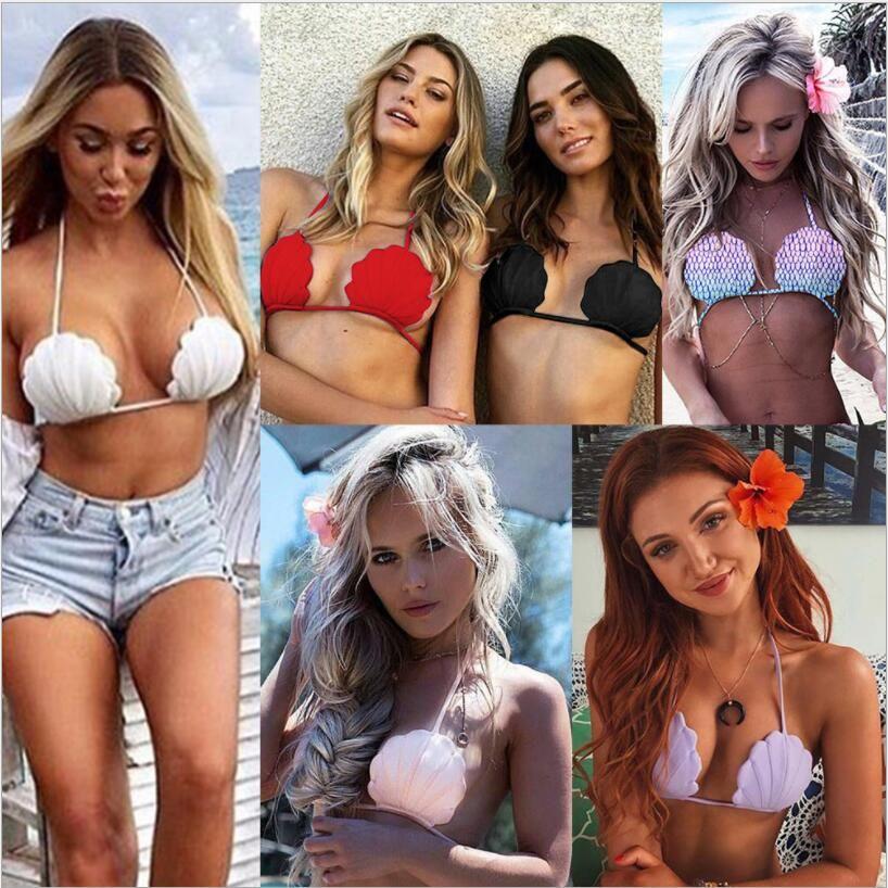 Bikini Tops 2019 Womens Sling rückenfreie Shell Meerjungfrau Badeanzug Top Damen Bademode mit Brustpolster Female Fashion sexy Bikini 6 Farben Tops