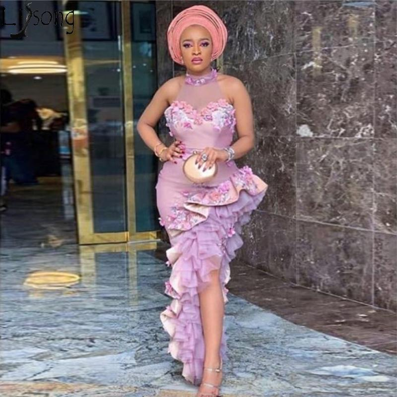 Aso Ebi Irregular Mermaid Prom Dresses in Turkey Halter Ruffled High Slit Evening Wear Gowns Plus Size African Women Formal Party Gowns