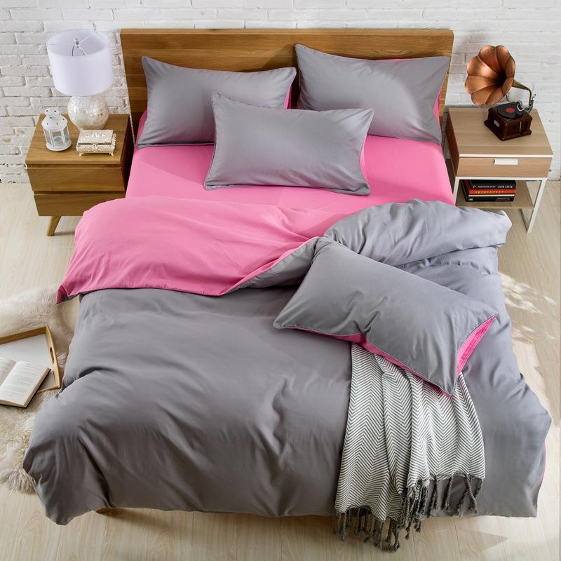 3 4 pezzi copripiumino letto lenzuolo federa semplice Solido Zenzero Colore Grigio Caprioli Soft Home Usa impostazione