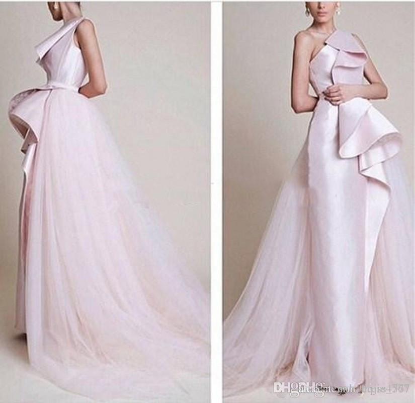 2019 Nouvelle festonnée Tulle Robe sans manches Activité formelle une épaule Vestidos Moyen-Orient Style de Rose A-ligne de robe de soirée