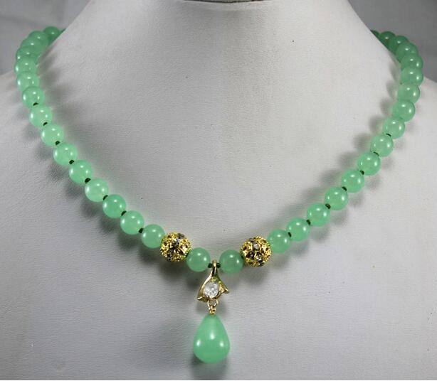 Jewelryr collier de perles 2 styles! En gros / au détail 8mm collier de jades vert clair cristal pendentif jades plaqué Livraison gratuite