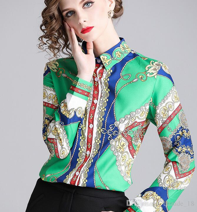 Hochwertige Chain Flora bedruckte grüne Damen Bluse Revers Hals Mode Sommer Damen Shirts mit Einreiher