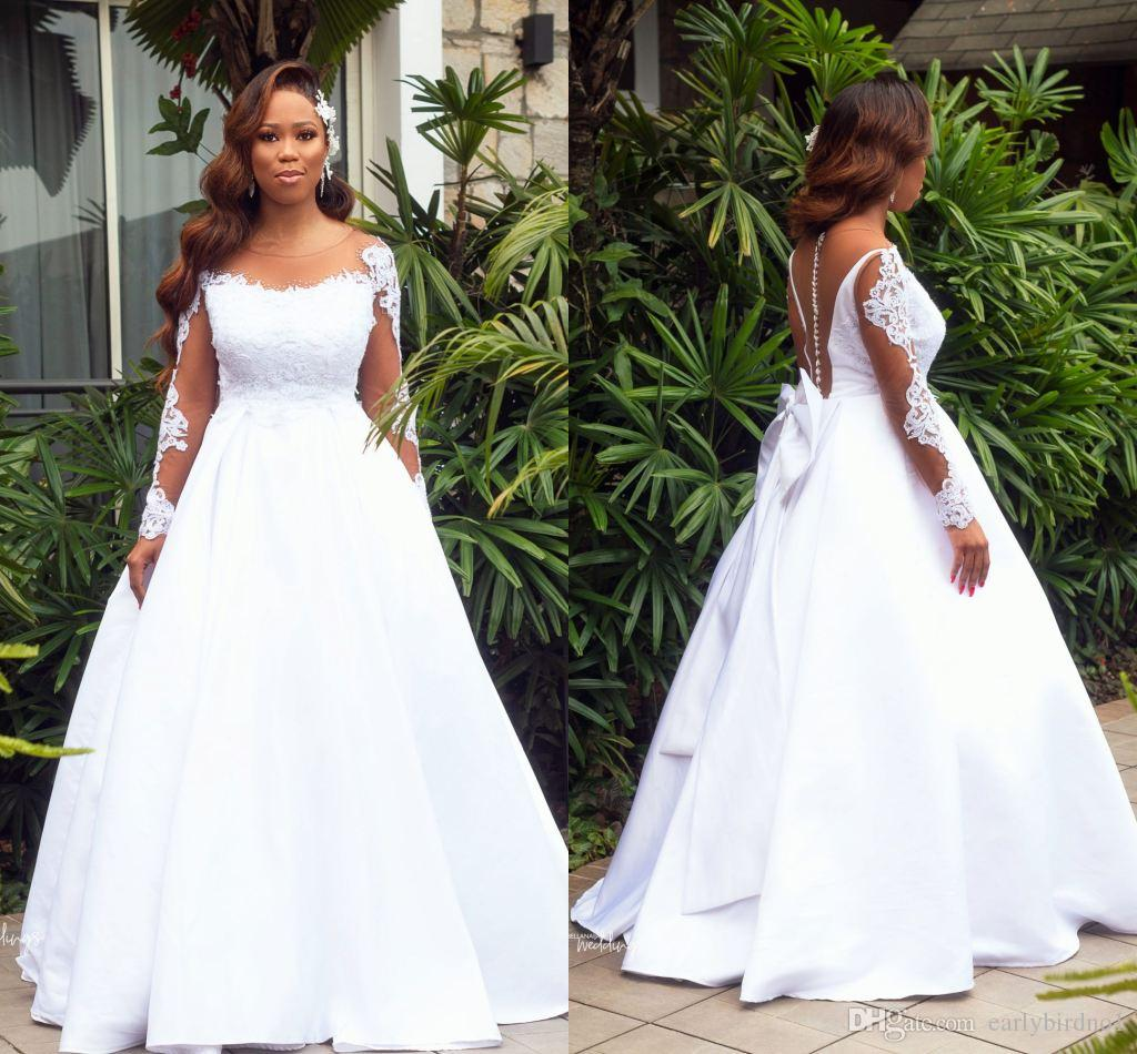 2019 African Long Sleeves Lace Appliqued A-line Wedding Dress Vintage Plus Size Saudi Arabic Bridal Gown Sheer Back