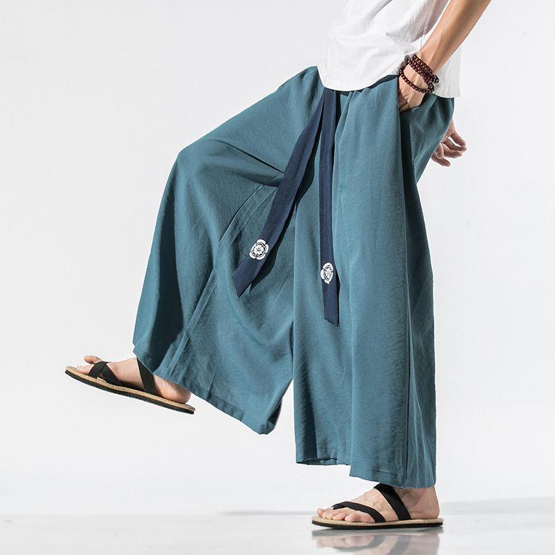 Men Summer Chinese Style Belt Cotton Linen Loose Casual Wide Leg Skirt Pant Male Vintage Streetwear Kimono Pants