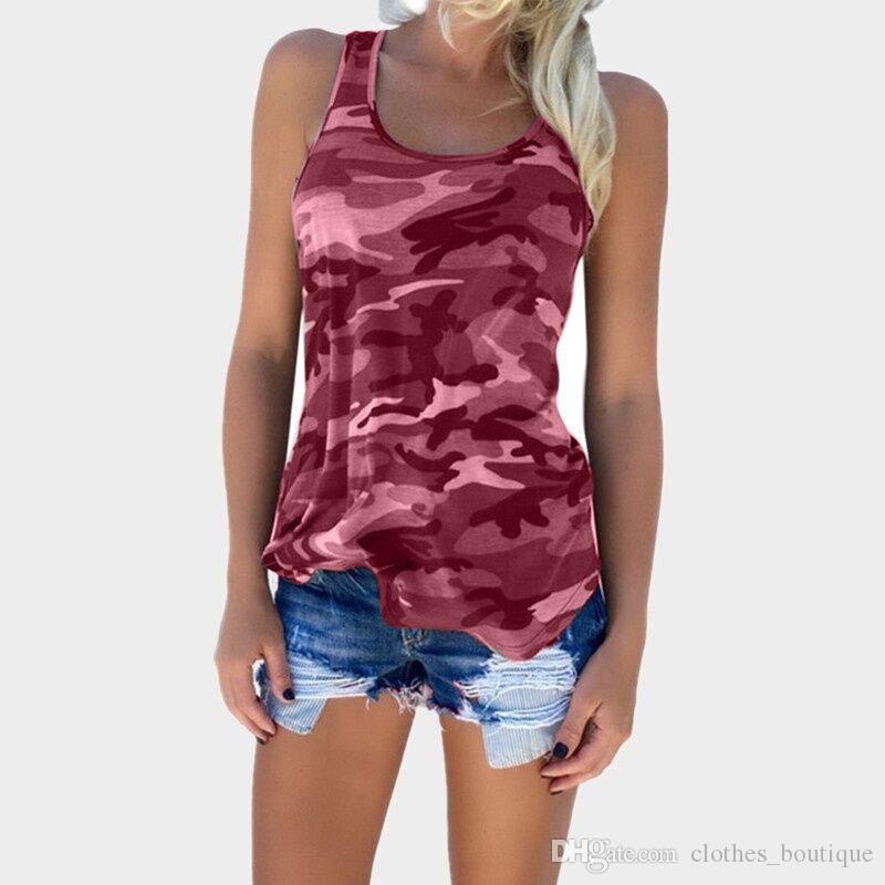 2019 dhl المرأة الصيف مثير مطوي عودة اختتام عارضة تانك القمم التمويه القمم الصدرية أكمام القميص بلوزة S-5XL