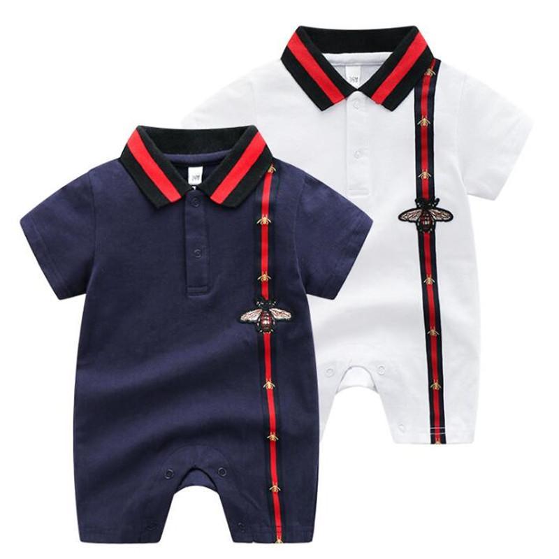 2020 nuevos del verano niños de manga corta delgada mono de la manera camiseta del bebé de la alta calidad de 100% algodón da vuelta-abajo de las muchachas de los mamelucos del bebé