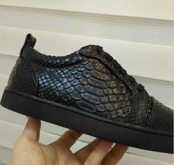 Hot Vente- haut bas Rouge Bas Sneaker luxe Party Chaussures de mariage en cuir véritable Louisfalt Spikes lacets taille Chaussures Casual EU35-46