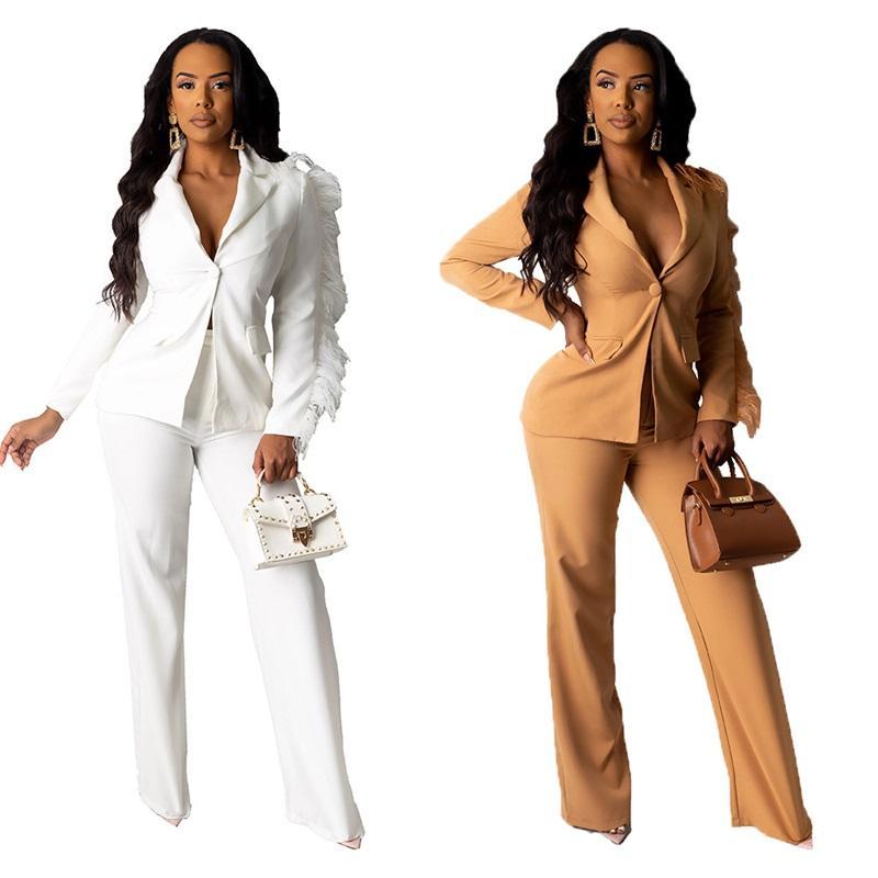 Da forma das mulheres Ternos Pure Brasão cores Blazers lapela Top e Slim Pants 2pcs Roupa Outfits Ladies Primavera Vestuário 67md E1