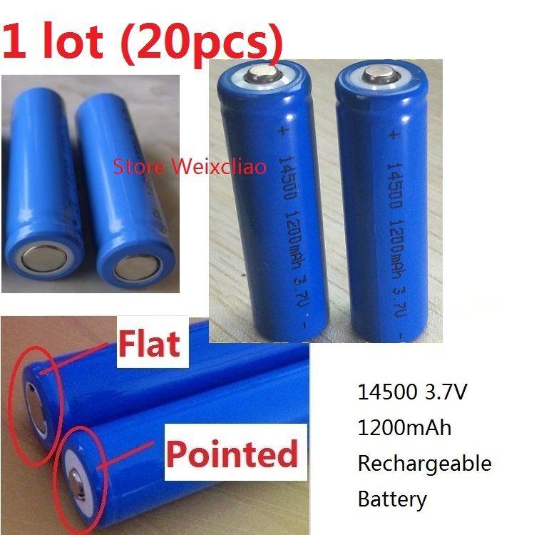 20 قطع 1 وحدة 14500 3.7 فولت 1200-1300 مللي أمبير حجم 5 بطارية ليثيوم أيون قابلة 3.7 فولت بطارية ليثيوم أيون إيجابية مسطحة أو مدببة مجانية