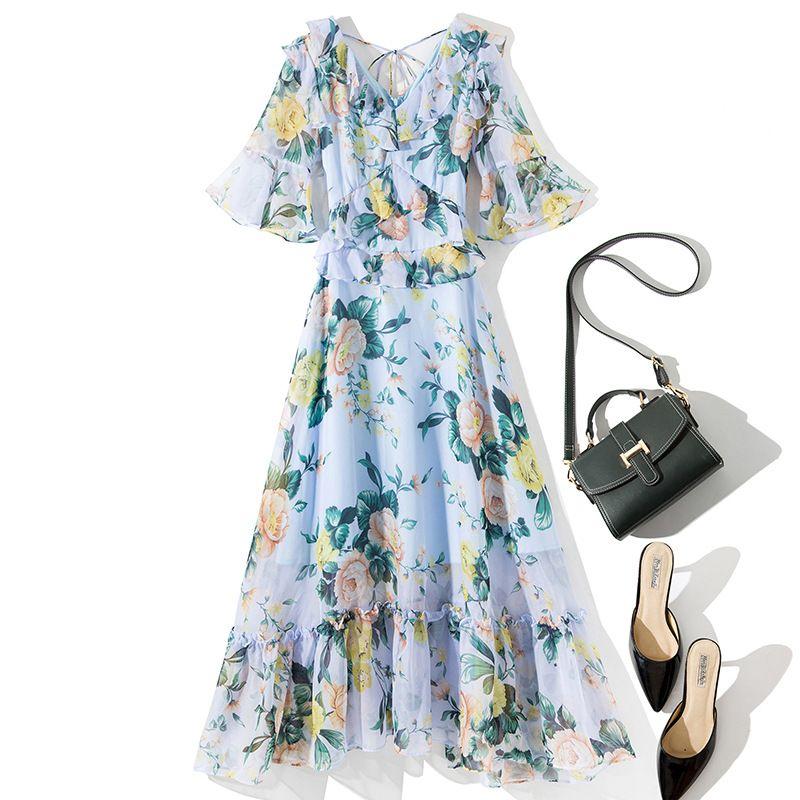 L4753 Runway Designer Dresses Pink / Blue Half Sleeve V Neck Floral Print Chiffon Tied Neck Bow Back Ruffle Midi Long Dress TF71320