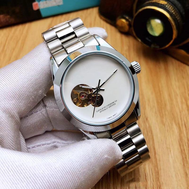 2019 유명한 패션 우승자 블랙 가죽 밴드 남자 골드 기계식 손목 시계 스테인레스 스틸 해골 시계 무료 배송