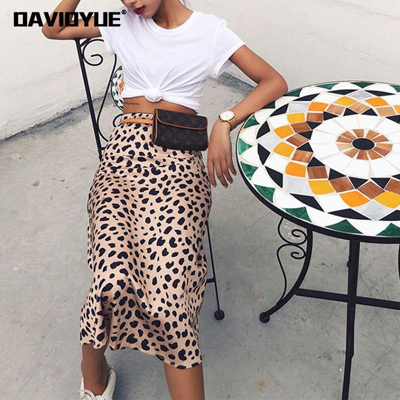 mulheres saia da cópia do leopardo A-Line Saia de cintura alta saias midi selvagens mulheres coisas sexy saias longas Casual Verão