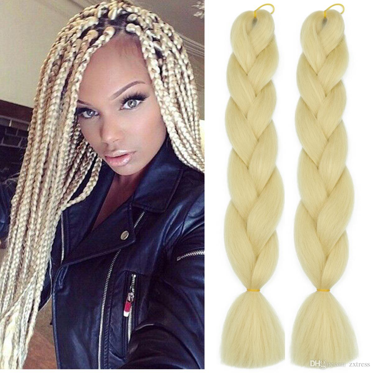 ZXTRESS Women 24inch Crochet Braids Twist Hair Bulks Box Braids 100g/pc Jumbo Braids Blonde Synthetic Braiding Hair Extensions headwear